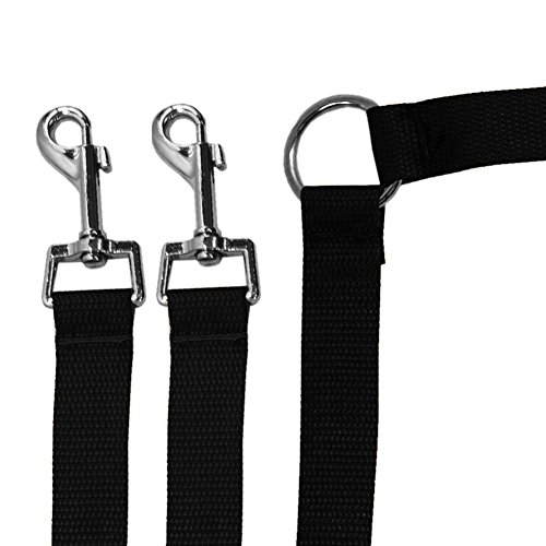 40cm Double 2 Dog Pet Coupler Lead Leash with Clip for Collar Harness Black