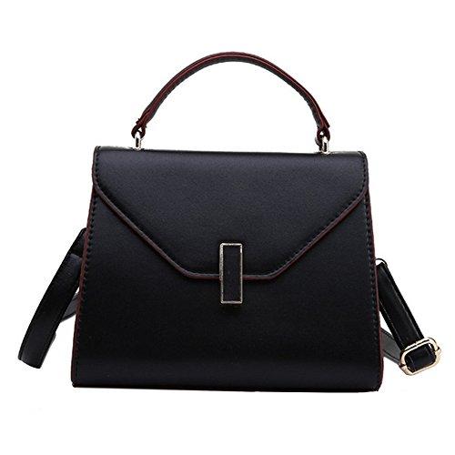 Damen PU Leder Handtasche Normallack Umhängetasche Mini Schultertasche Square Messenger Bag (Schwarz) (Elegante Boston Bag)