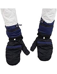 GEOSPIRIT Daunen Winter Fäustlinge Handschuhe in Schwarz/Dunkelblau