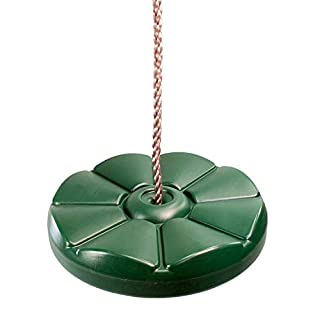 Garden Games Green Monkey Button Disc or Disk Swing Seat with Adjustable Silky Weatherproof Rope