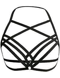 Tinksky Sexy Strappy Bra Cage Femmes Élastique Cupless Cage Soutien-gorge Hollow Out Strappy Crop Top Bustier Intimates Tops, cadeau pour amoureux Taille M (Noir)
