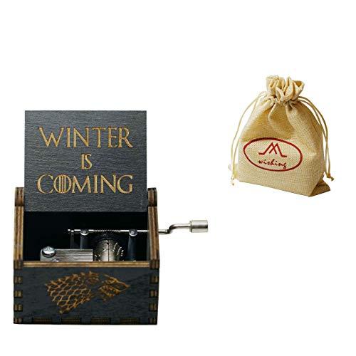 wishing Holz Spieluhr Game of Thrones Hand-hölzerne Spieluhr Hand-Klassischen Musik-Box Dekoration Box Kreative Holz Handwerk Geschenk für Kinder, Familie und Freunde mit Geschenktasche - (schwarz)