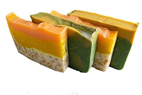 Citrus jabón Bar Set (4bares) -Todos jabones para invitados con naranja aceite esencial. 2Naranja y Caléndula y 2aguacate y cítricos jabones. Set de 4-Barra de 2oz