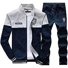 Hombre Chándal 2 Piezas Conjuntos Deportivos Pantalones + Chaquetas Sweatshirt Lago Azul 3XL