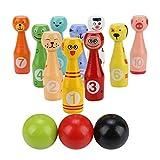 VGEBY1 Jouet Bowling Set, Kit de Jouets Educatifs pour Enfants Jeu de Bowling Dessins Animés en Bois Animaux 10 Bouteilles de Bowling + 3 Boules