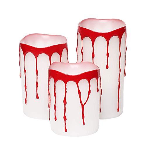 simpdecor Blutende Halloween Kerzen,Halloween Deko, Halten Hell, 5 Stunden Auto Timer, batteriebetrieben, 3x4/5/6 Zoll, Halloween Blut,Packung mit 3 (White)