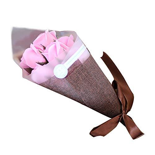 NaiCasy 7pcs Geburtstagsgeschenk künstliche Rose Floral Wash Seife Blumenstrauß Rosa Baden -