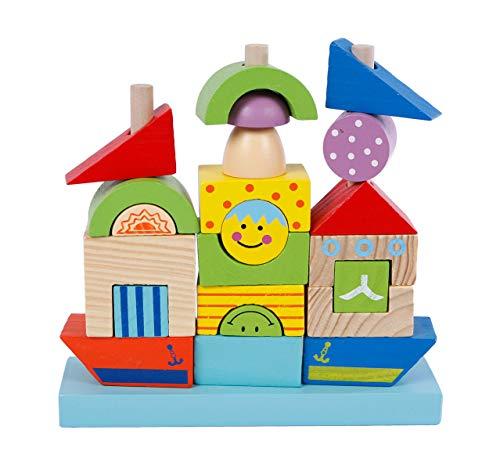 2 Play Stapelblöcke aus Holz (auf einem Boot, 24-teilig, bunt, Holzboot, Spielzeugboot, Holzschiff, Stapelschiff, Steckspiel), Größe 20 x 20 x 5,5cm - hochwertiges Holzspielzeug mehrfarbig - 610150