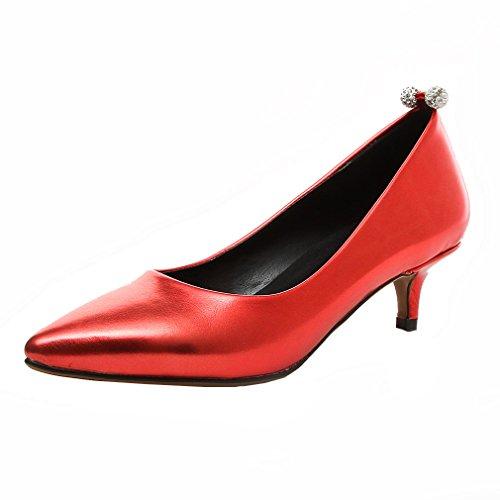 Bombas Ó Parte Superior Das Senhoras Salto Agulha Com Cristal Cunha Calcanhar E Sapatos Elegantes Vermelho