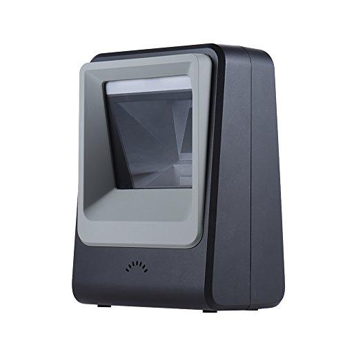 Aibecy LED Barcode Scanner, USB Verdrahtet Automatisch Desktop Scanner, 1D / 2D QR Code Bild Leser, Hand frei Scan Plattform zum Mobile Zahlung Supermarkt Bibliothek Express Unternehmen Warenhaus (Code Leser-scanner)