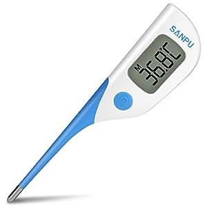 SANPU Termometro da bambini con lettura in 8-Secondi, flessibil punta , indicazione febbre e allarme, termometro per misurazione febbre adatto per bambini e adulti, uso orale, rettale e ascellare