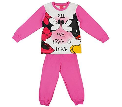 Disney Minnie Mouse Mädchen Pyjama Set Schlafanzug 2 Teiler 104 110 116 122 128 134 140 in Rosa Baumwolle Pyjama Hose mit Oberteil Geschenk für 3 4 5 6 7 (Mickey Maus Pyjama Kostüme)