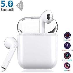 Decibillion Qualité sonore sans Perte Écouteurs sans Fils,Écouteurs 5.0 Bluetooth,Écouteurs Bluetooth Intra-Auriculaires, Kit Mains Libres stéréo sans Fils pour Airpods/Android