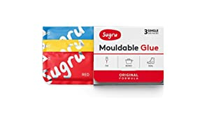 Sugru Mouldable Glue - Original Formula - All-Purpose Adhesive, Advanced Silicone Technology - Holds up to 2 kg - Red, Yellow & Blue 3-Pack
