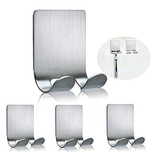 Fotyrig ganci adesivi multiuso attaccatura a muro gancio in acciaio inox supporto per rasoio da barba tappo, chiavi, utensili da cucina, luffa e altri 4 pacchetti