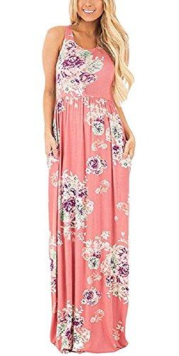 Walant Damen Ärmellos Drucken Maxi Kleid Lang Sommerkleid Strandkleid Rosa s