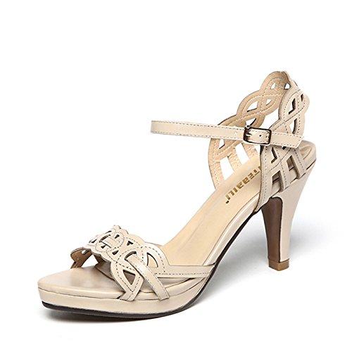 XY&GKEchtes Leder Stiletto's Sandalen Frauen Sommer Sommer Stiletto Heel Heel Sandalen, komfortabel und schön 37 apricot