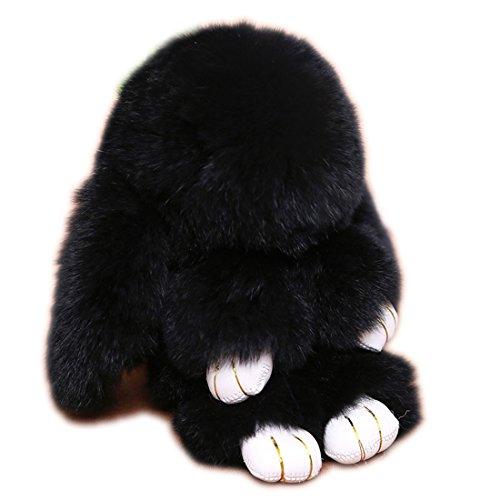 URSFUR Süße Fell Kaninchen aus Kanin Fell Kuscheltier Tasche Anhänger Handtasche Schnalle Schlüsselanhänger -schwarz