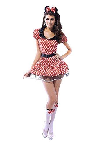Mouse Qualität Kostüm Kleid Tanga Ohren Stirnband 2 x Strumpf Tops und Gürtel Größe 38-40 (Sexy Minnie Kostüme)