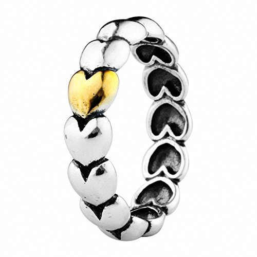 TAOTAOHAS oxidada antiguo dos tonos bicolor sólido plata de ley 925/1000 anillo [ mi único y verdadero amor, Talla 16 ]Top Ventas