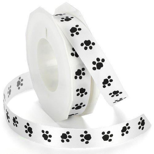 Morex Ribbon Paw Print Satin Ribbon Spool, 7/8-Inch by 20-Yard, Black/White by Morex Ribbon -