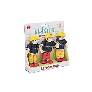 Le Toy Van - Juego de 3 Budkins Familia Feuerwehrset flexión de Las muñecas de la casa de muñecas