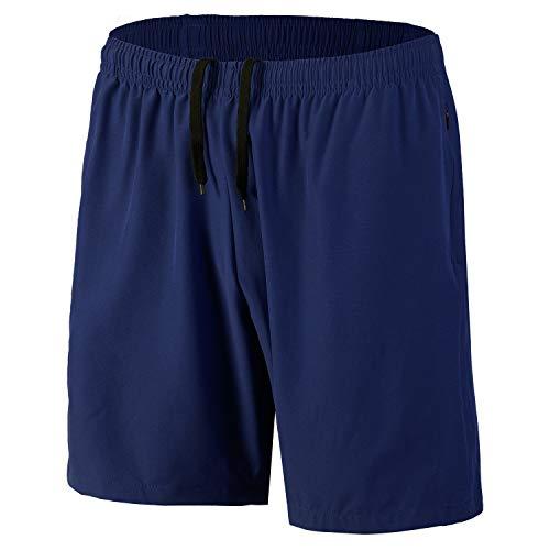 Herren Sport Shorts Schnell Trocknend Kurze Hosen mit Reißverschlusstaschen (Marine L)