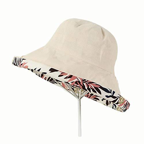 Doppelseitiger Druck für Frauen Doppelseitiger Fischerhut aus Baumwolle mit großem Visier Wild Folding Basin Cap Hut (Color : 04)