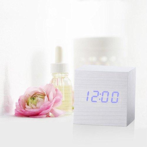 janly® Moderner Desktop Tisch Uhr Holz Cube Design Digital Led Schreibtisch Wecker Voice Control Thermometer Timer Kalender 60x 60x 60mm 13Farben, holz, g, 60 x 60 x 60 mm (L x W x H)