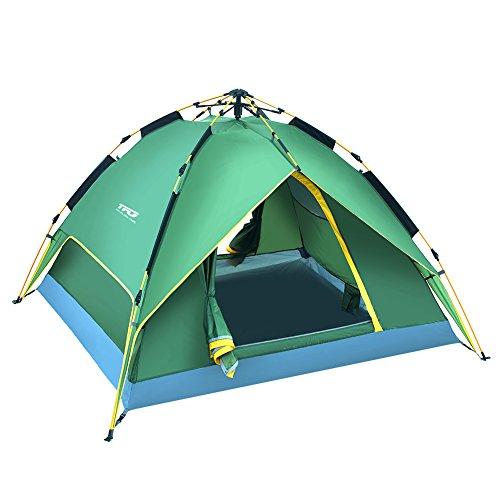 TFO Automatisches Campingzelt 2-3 Personen Zelt Wasserdichtes Kuppelzelt mit Tragetasche für Capming Reise, Grün