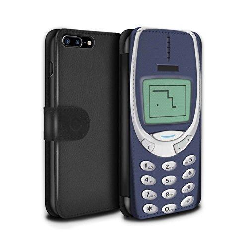 STUFF4 PU-Leder Hülle/Case/Tasche/Cover für Apple iPhone 8 / Hellgrün Nokia 8210 Muster / Vintage Handys Kollektion Blaues Nokia 3310