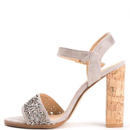 Ideal Shoes - Sandales à talon carré avec partie ajourée et strassée Henya Gris