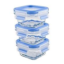 Emsa 515988 Clip & Close set of 3 glass baby food storage boxes with plastic lids, volume 0.2 litres, transparent/blue, 3 x 0,2 l