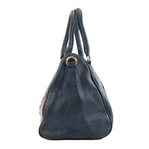 Handtasche Union Jack Damentasche Tasche Tragetasche Damen Kunstleder Lederimitat LK6068 Dunkelblau