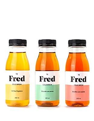 Te Fred Cold Brew - 6 x 250 ml (2 Thé vert avec menthe + 2 Thé noir Chai organique + 2 Rooibos avec vanille)