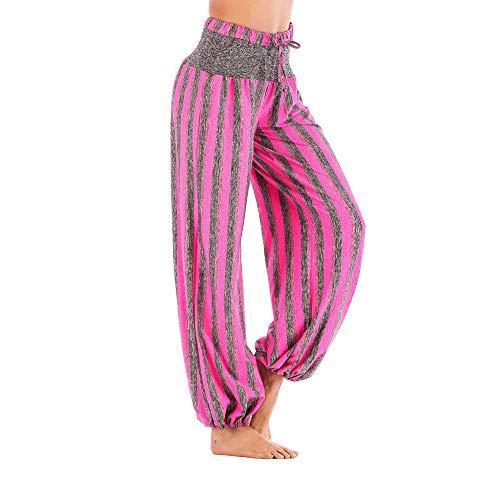 Lazzboy Haremshose Pants Täglich Beiläufige Lose Streifen Stretchy Weites Bein Palazzo ()