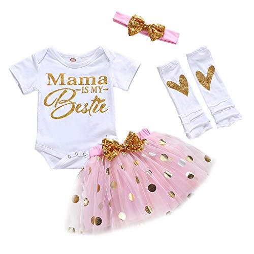 erthome Tenues bébé Fille, Lettre du Jour de la Mère imprimée T-Shirts Jupe Courte 3-24Mois (6-12 Mois)