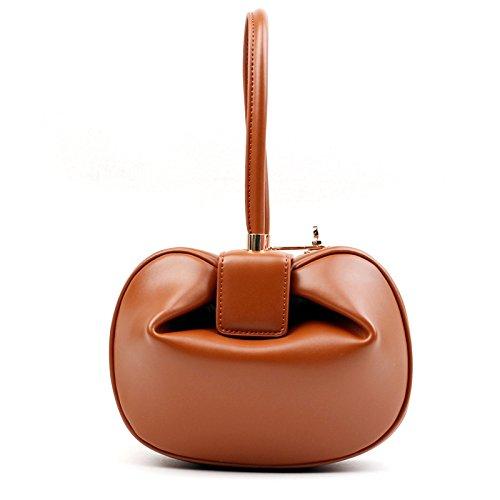 Misonz Fashion Kupplung Rund Top Griff Taschen Luxus-Handtaschen Frauen Taschen Designer Vintage Überfalle Ball Hobos Split Leder Lady Tragetaschen, Damen, Orange, 24 cm - Kitty Hello Teen