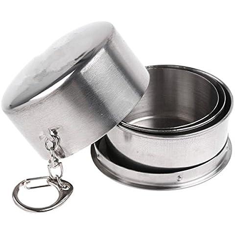 Kry grande exterior de acero inoxidable plegable de viaje plegable taza plegable, tres telescópica portátil taza de agua con buckles-three