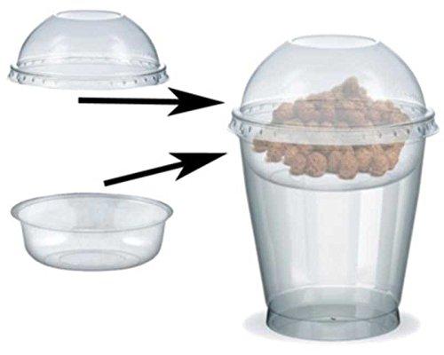 100 Stk. Feinkostbecher für Salat, Müsli, Joghurt mit Einsatz + Deckel 300 ml / Diese Premiun-Feinkostbecher mit Deckel und Einsatz sind optimal um verschiedene Zutaten zu trennen - beispielsweise Dressing vom Salat, Müsli oder Früchte vom Joghurt, Bubbles vom Tee.
