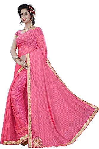 Kamela Saree Polyester Saree With Blouse Piece (Lycra_Lpink_Pink_Free Size)