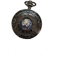 Retro Cuerda Manual reloj de bolsillo mecánico esqueleto reloj grabado azul negro metal
