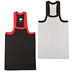 Wyatt Mens Cotton Gym Vest(1012_Black-Grey_S)
