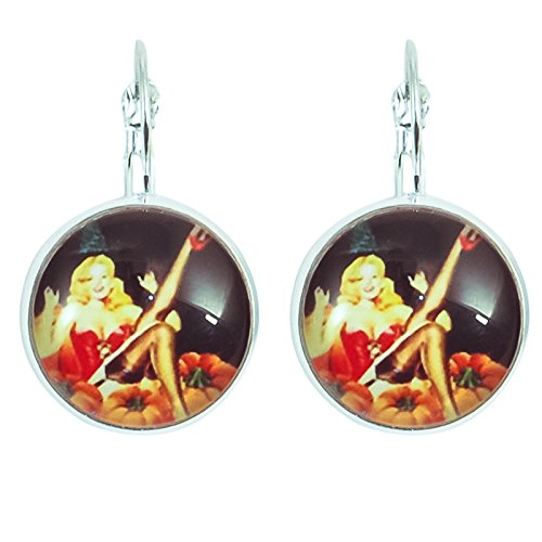 Kreative Perlen - Ohrringe Cabochon rund Damen Pin Up Halloween - Rot