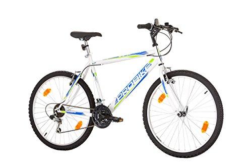"26 ""pollici, CoollooK, PROBIKE, Mountain bike femminile, Hardtail Cornice, 18 velocità, Shimano, Cerchi Mach 1, Bianco-Gloss"