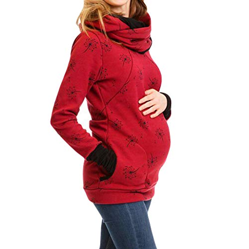TITAP Women Pregnant Hoodie Sweatershirt Maternity Breastfeeding Nursing Jumper Top with Pockets (Size:M, Wine)