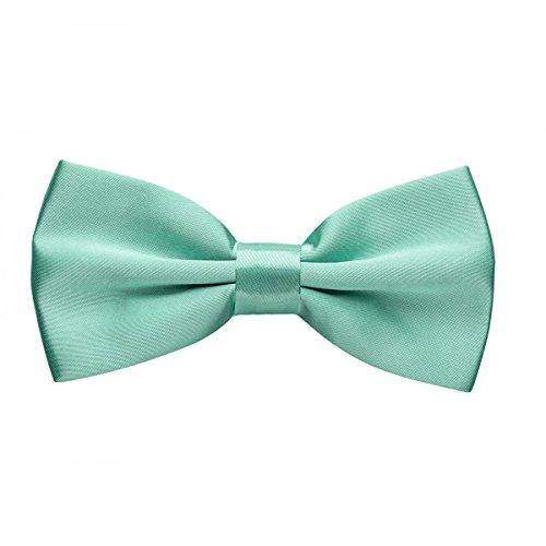 Rusty Bob - Fliege in Uni - Schleife gebunden und verstellbar (12cm x 6,5cm) - für die Hochzeit, die Konfirmation, zum Anzug oder Smoking - Mintgrün (Weste Ohne Anzug Kragen)