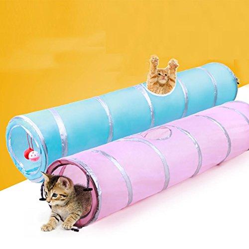 Upxiang Haustier Katze spielen Tunnel Katze Zwei Wege Tunnel Katze lange Tunnel Kätzchen lustige spielen Spielzeug Tierbedarf (Rosa) - Lustige Kätzchen