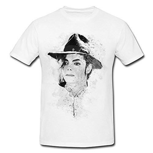 Michael Jackson I T-Shirt Mädchen Frauen, weiß mit Aufdruck