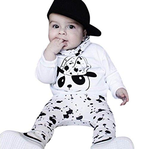 Xshuai Kleinkind Baby Jungen Mädchen Niedlich Bär Druck Tops + Hosen Outfits Set Kleider (12 Monate, Weiß)